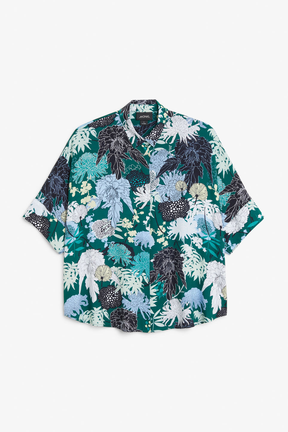 Front image of Monki oversized boxy shirt in green