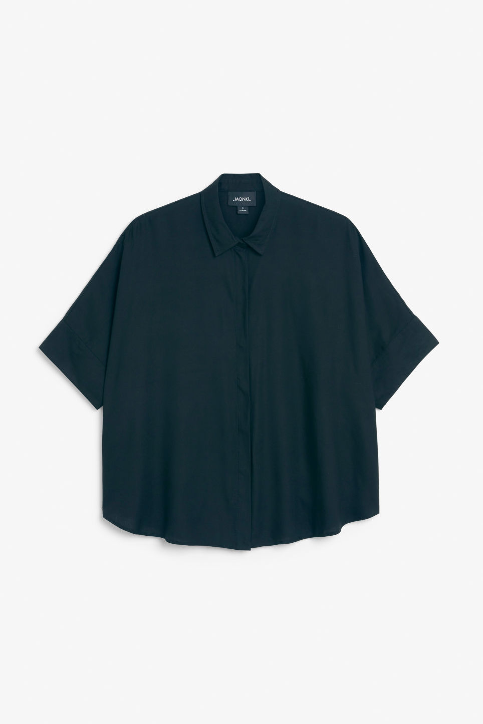 Front image of Monki oversized boxy shirt in blue