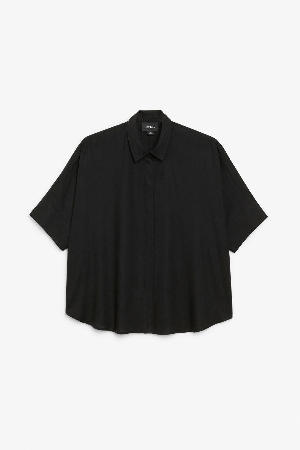 Front image of Monki oversized boxy shirt in black