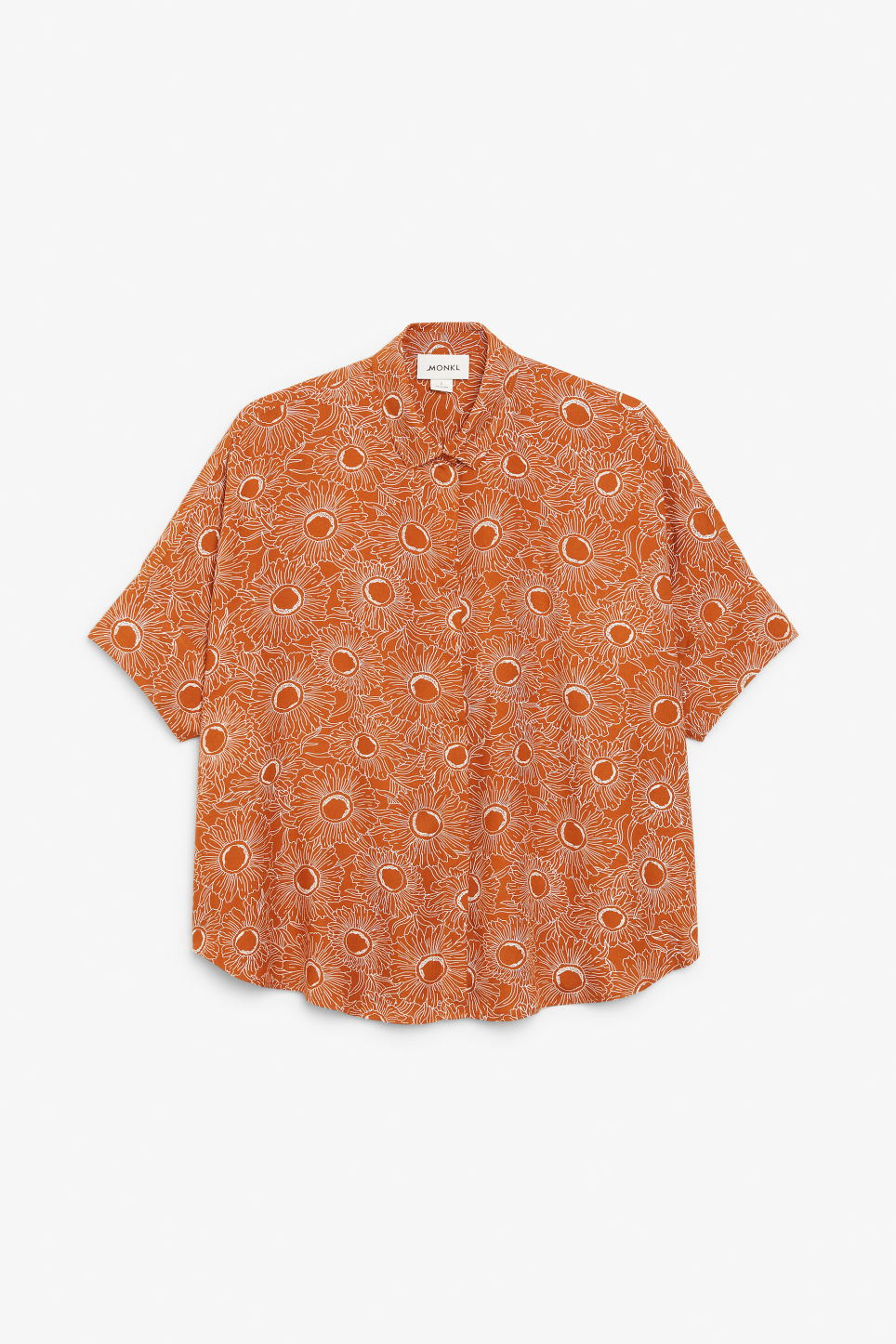 Front image of Monki oversized boxy shirt in orange