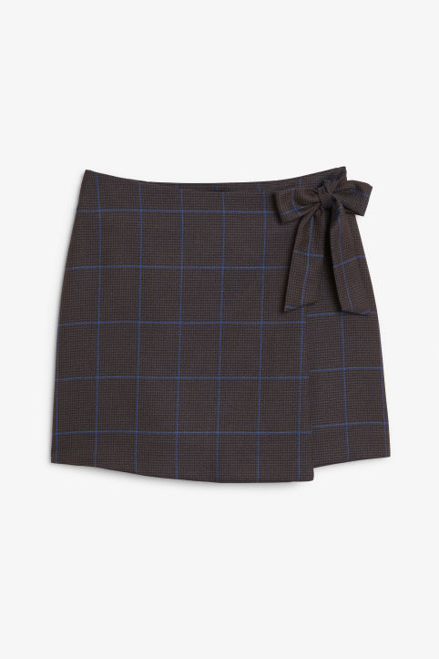 Front image of Monki mini wrap skirt in grey