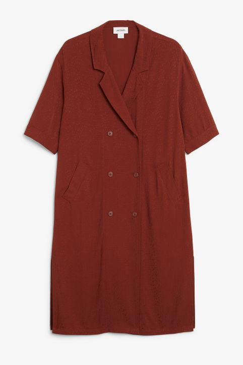 Front image of Monki tuxedo dress in red