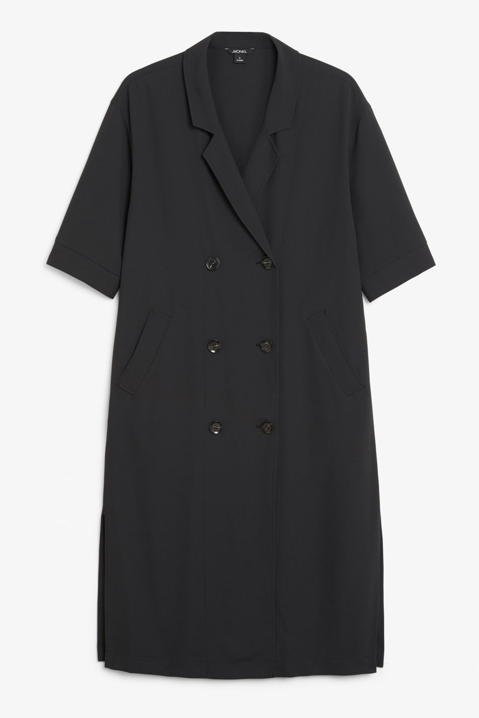 Front image of Monki tuxedo dress in black