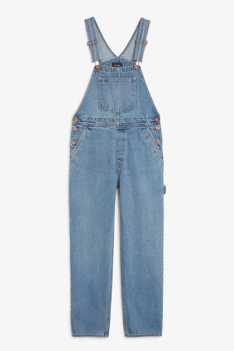 Front image of Monki denim dungarees in blue