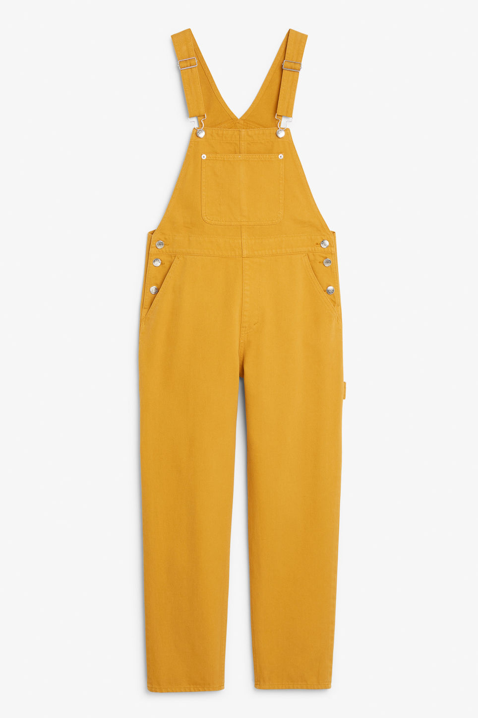 Front image of Monki denim dungarees in yellow