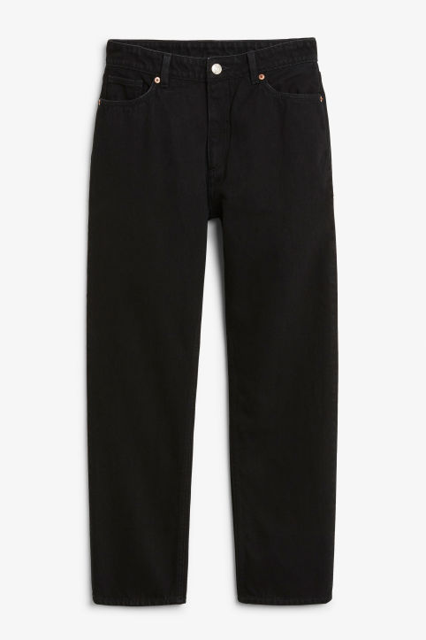 Front image of Monki moluna washed black jeans in black