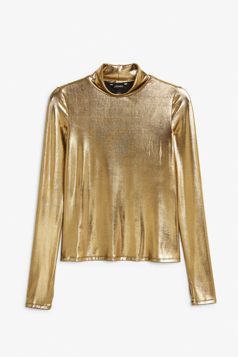 Front image of Monki shiny turtleneck  in gold