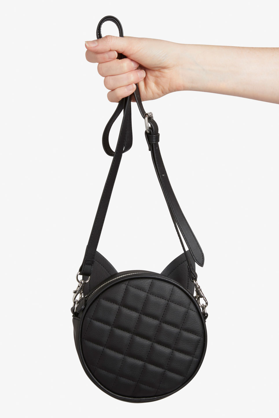 Front image of Monki cross shoulder cat bag in black