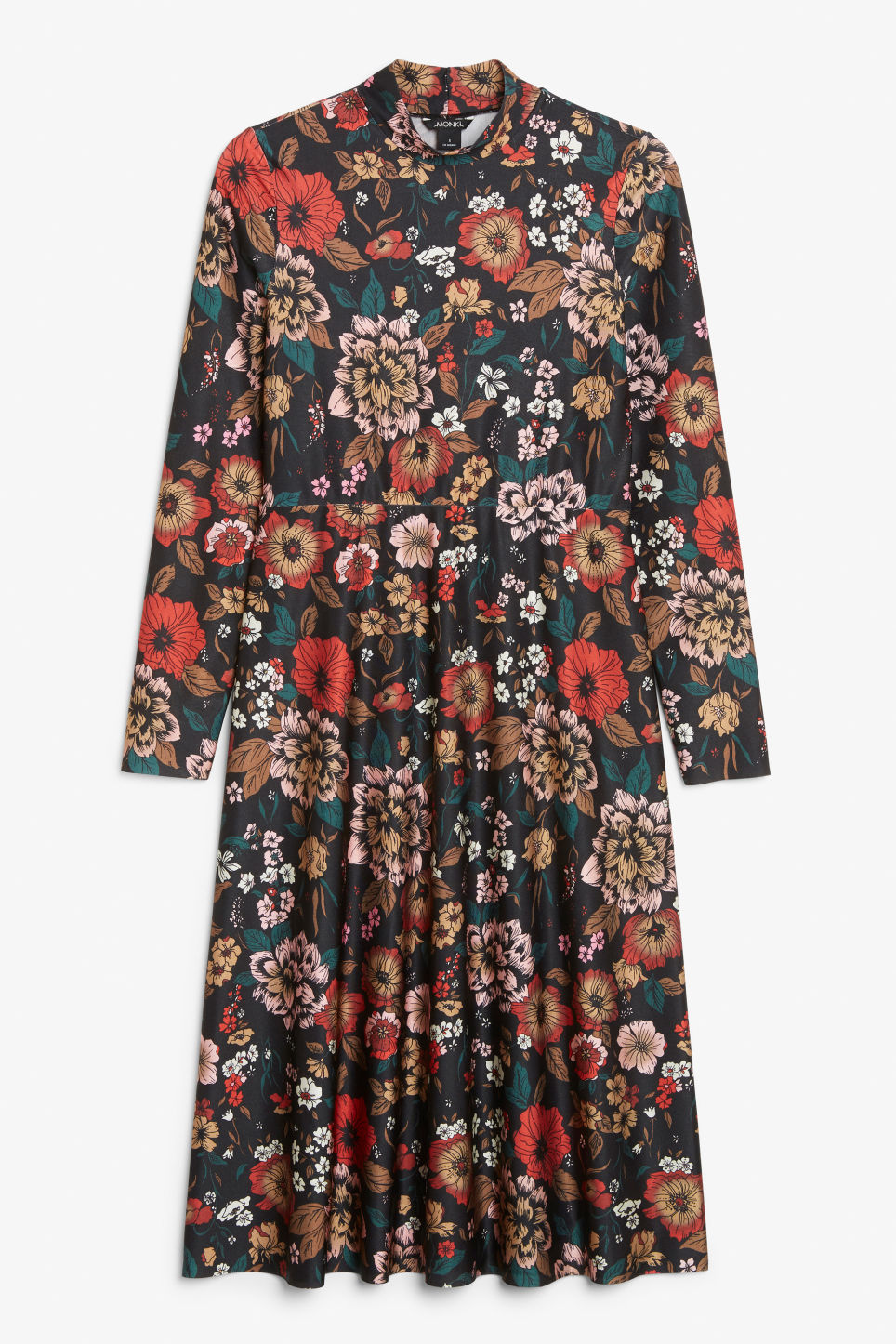 Front image of Monki raised neck dress in black