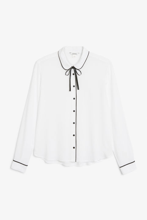 Front image of Monki classic button-up shirt  in white