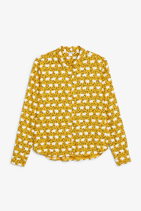 Sheep and flower print blouse