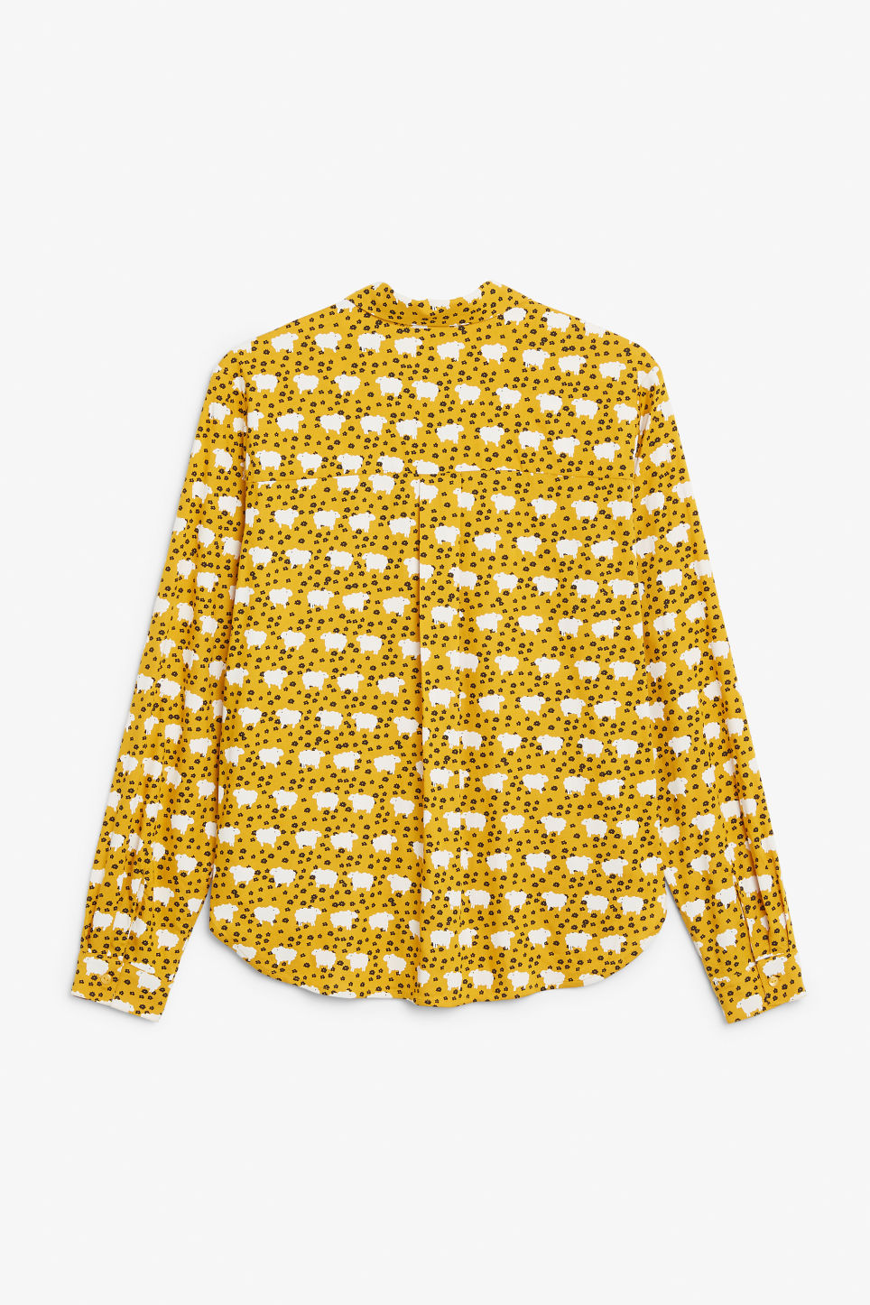 Back image of Monki classic button-up shirt  in yellow