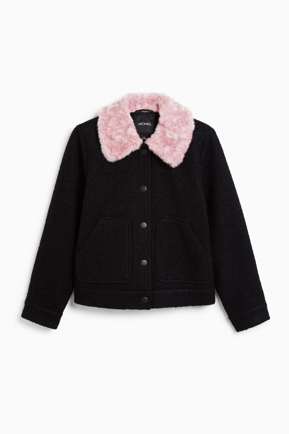 Front image of Monki fluffy collar jacket in black