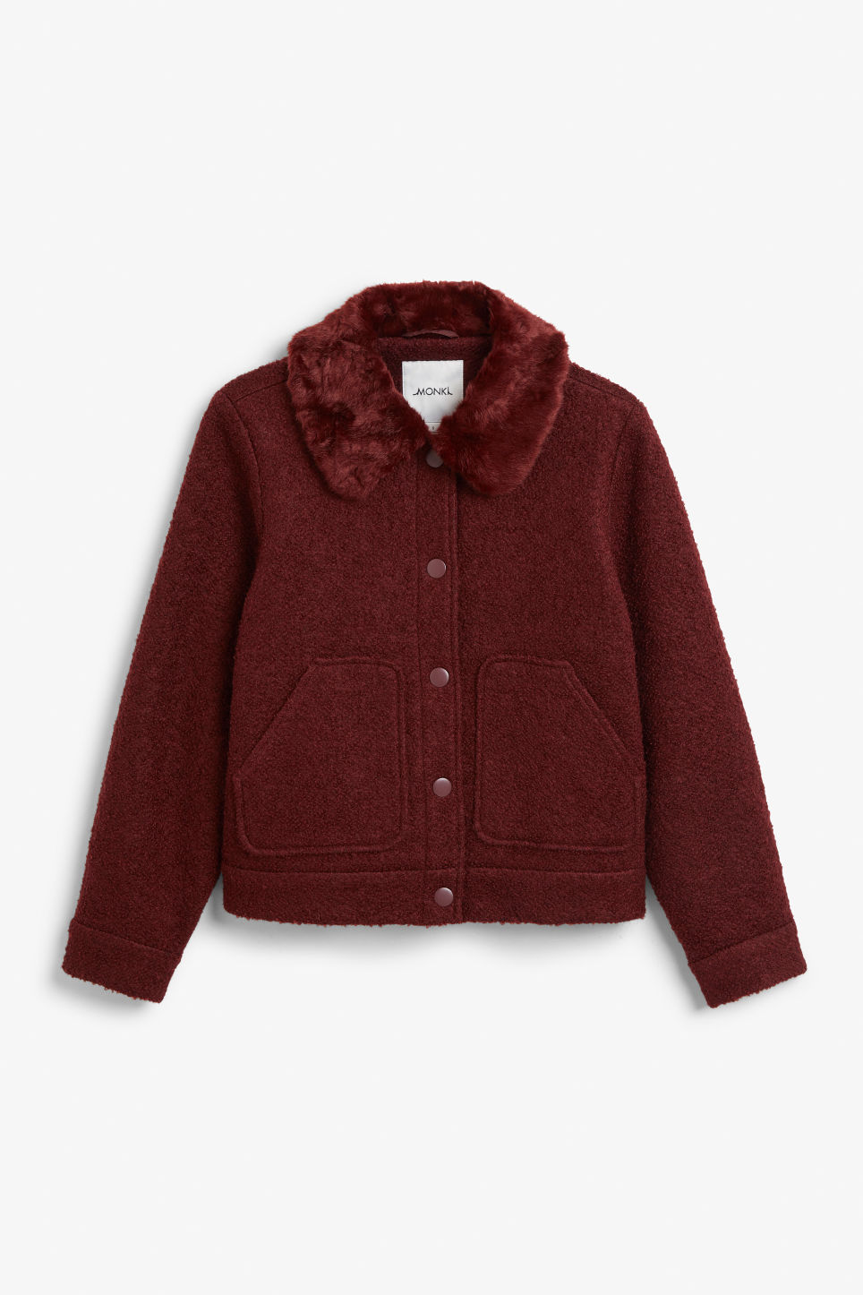 Front image of Monki fluffy collar jacket in red