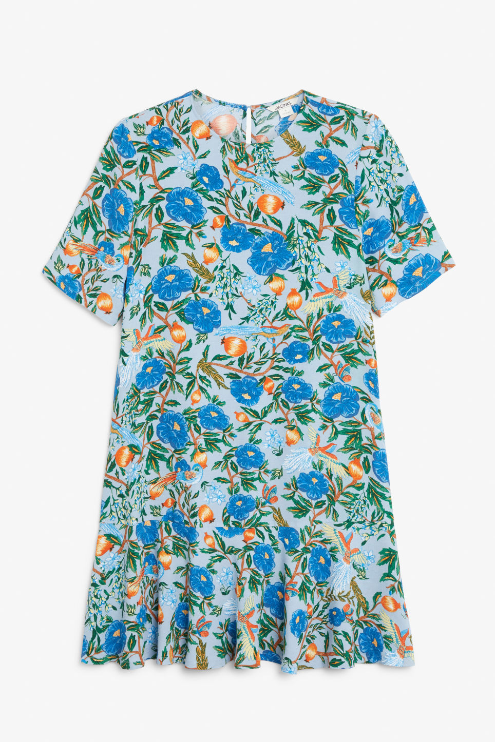 Front image of Monki flounce t-shirt dress in blue
