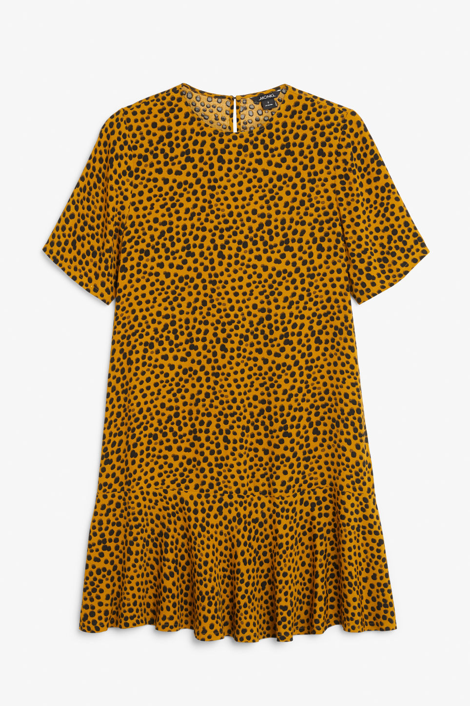 Front image of Monki flounce t-shirt dress in yellow