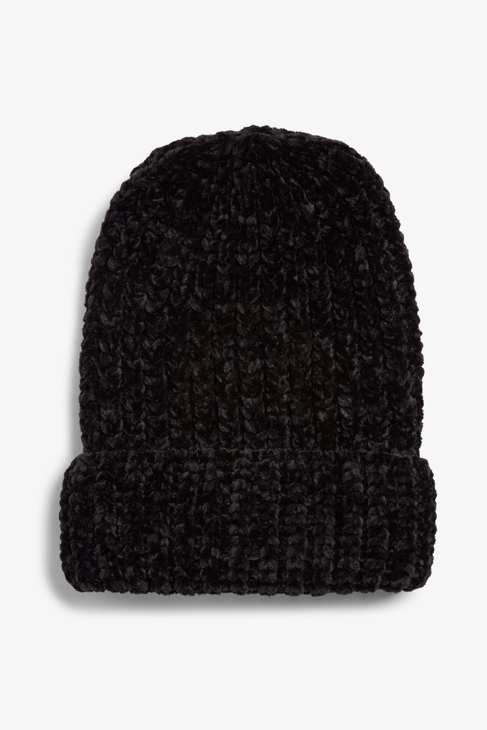 Front image of Monki knitted beanie in black