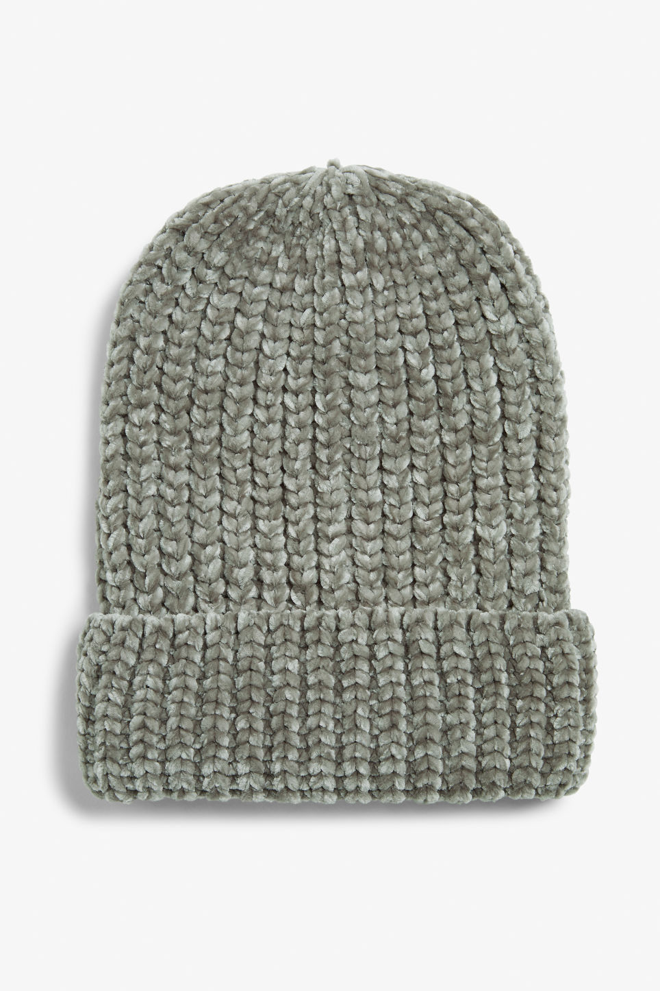 Front image of Monki knitted beanie in grey