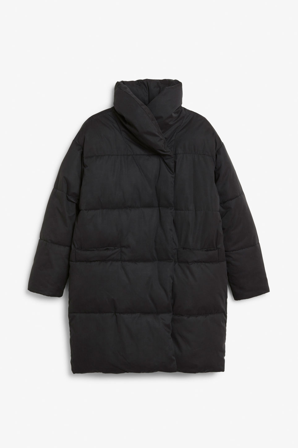 Front image of Monki puffer coat in black