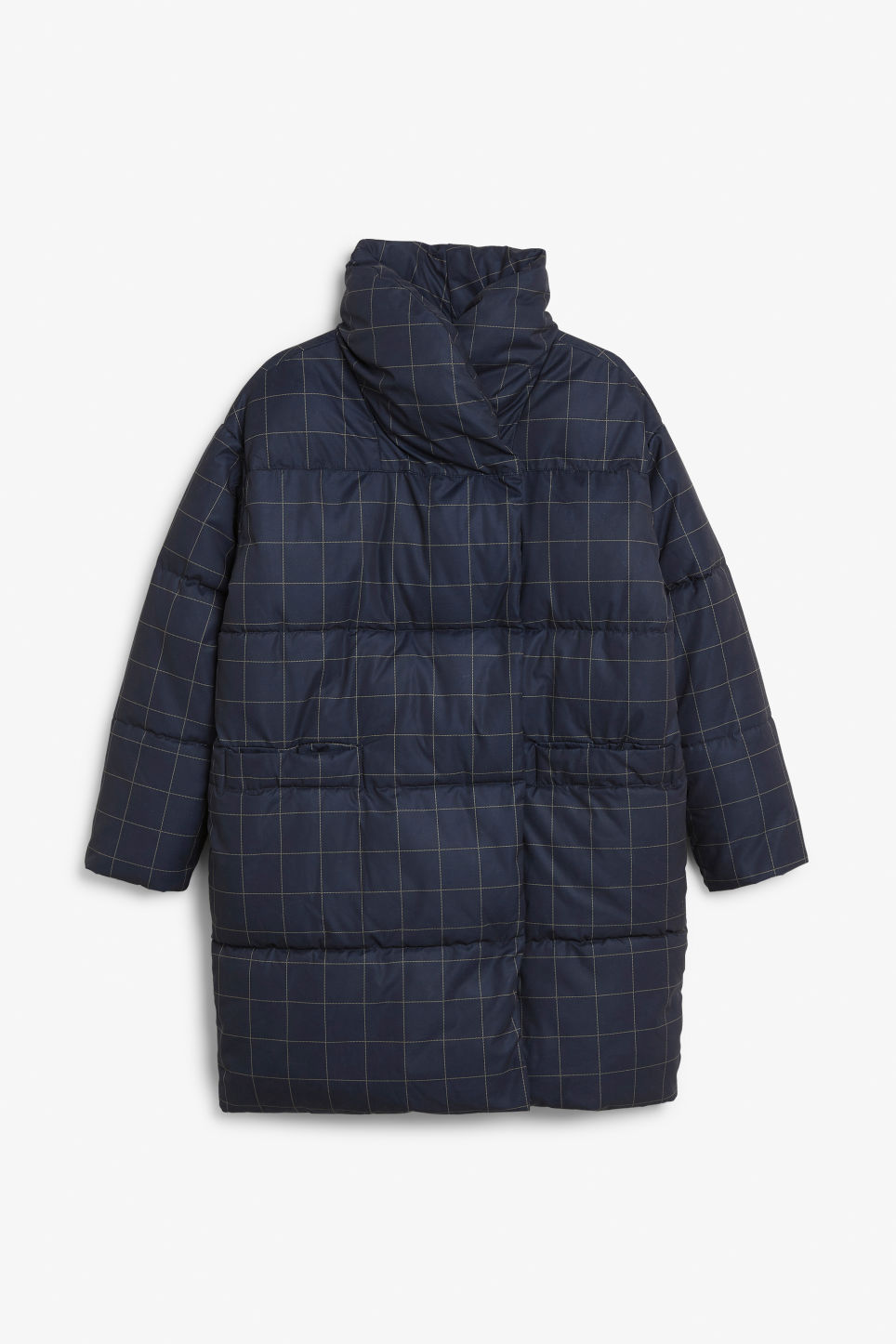 Front image of Monki puffer coat in blue