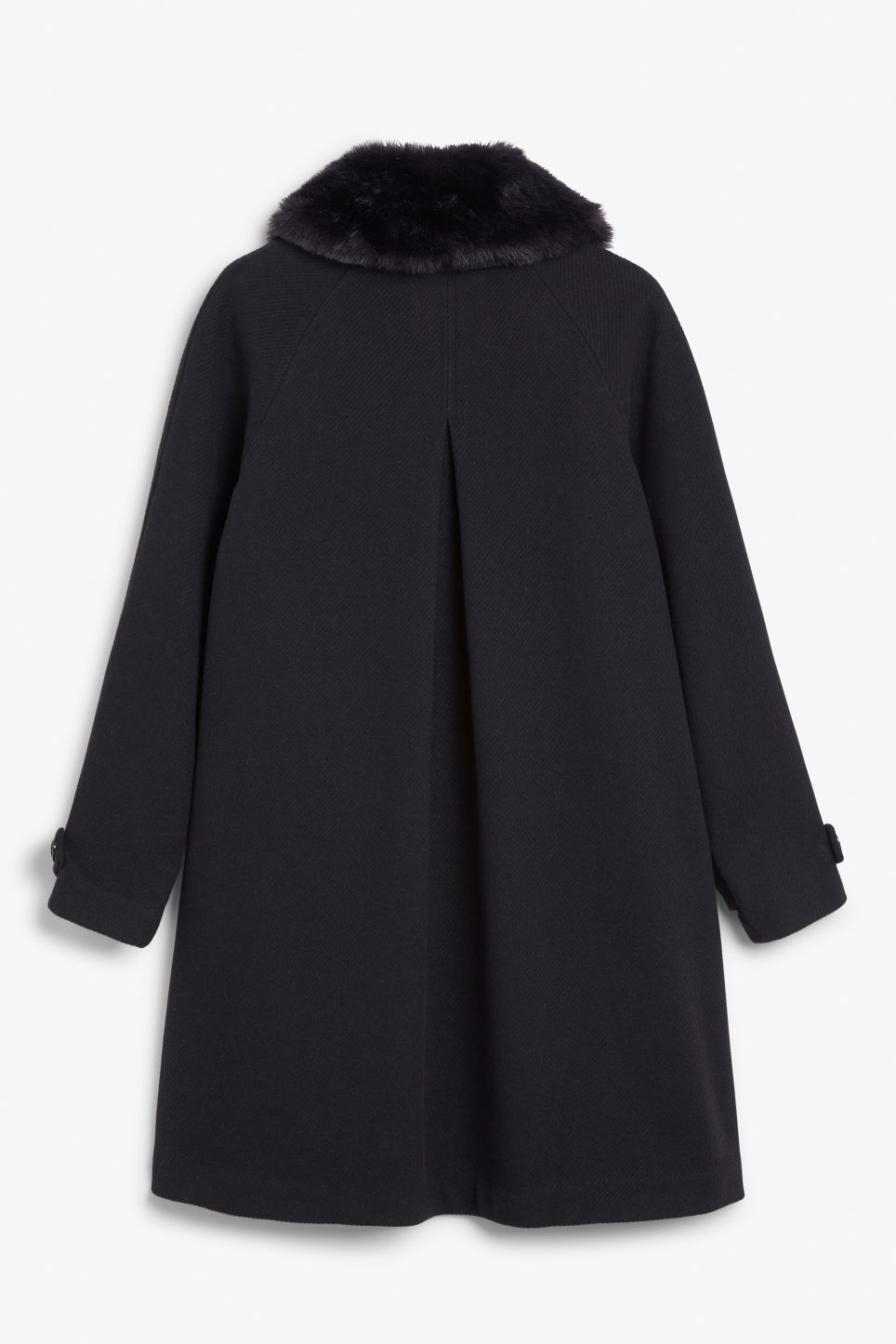 Back image of Monki classy a-line coat in blue