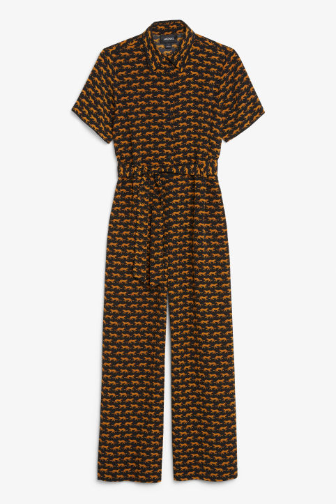 Front image of Monki button-up jumpsuit in black