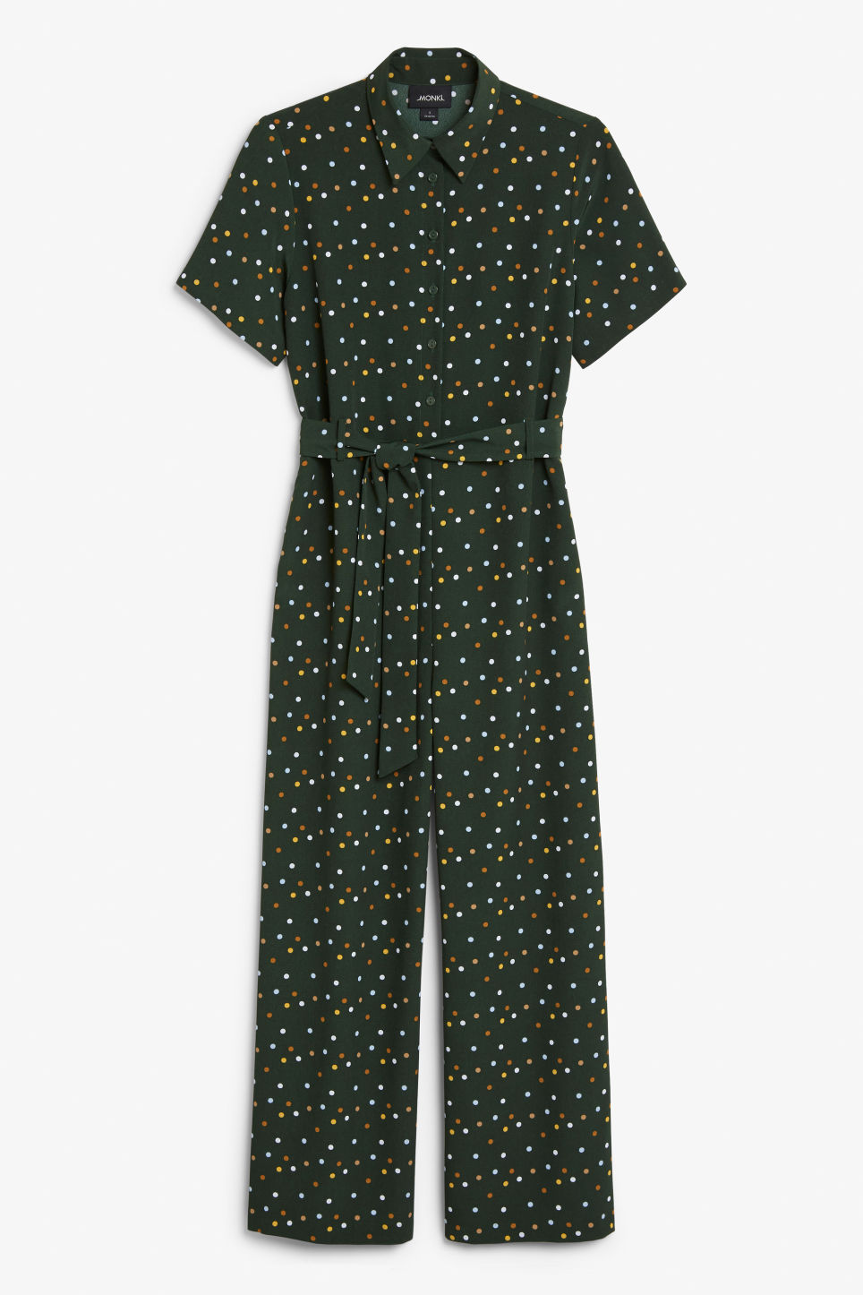 Front image of Monki button-up jumpsuit in green