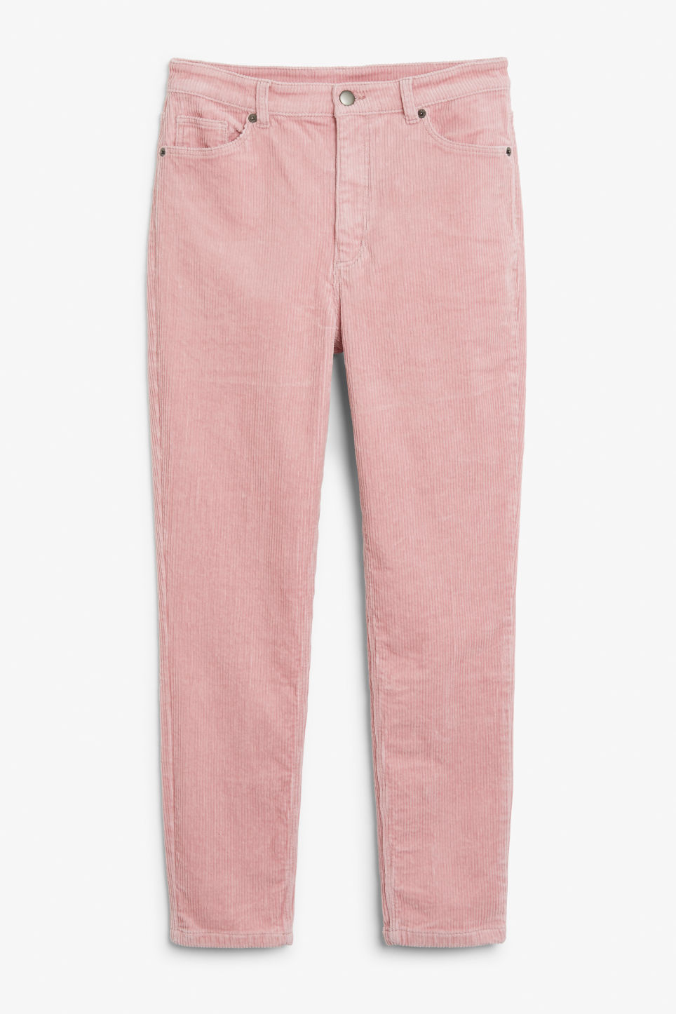 Front image of Monki slim fit corduroy trousers in pink