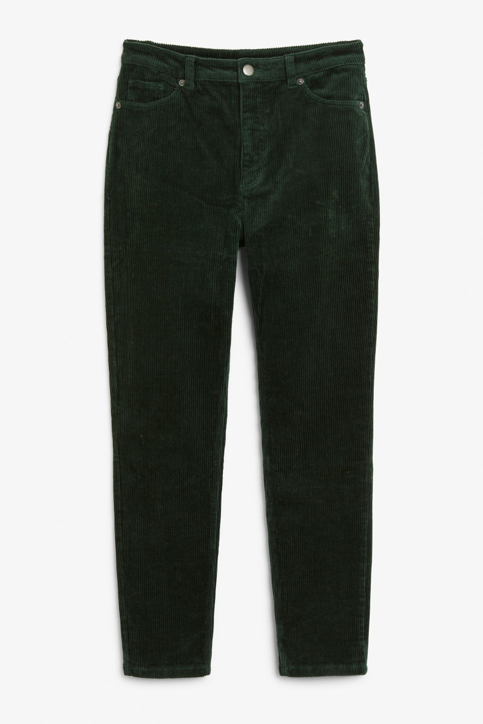Front image of Monki slim fit corduroy trousers in green