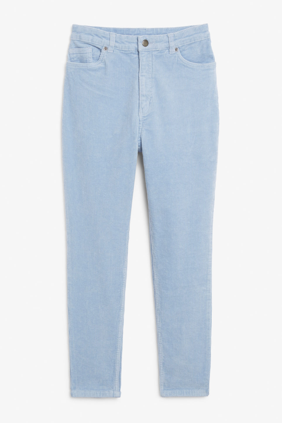 Front image of Monki slim fit corduroy trousers in blue