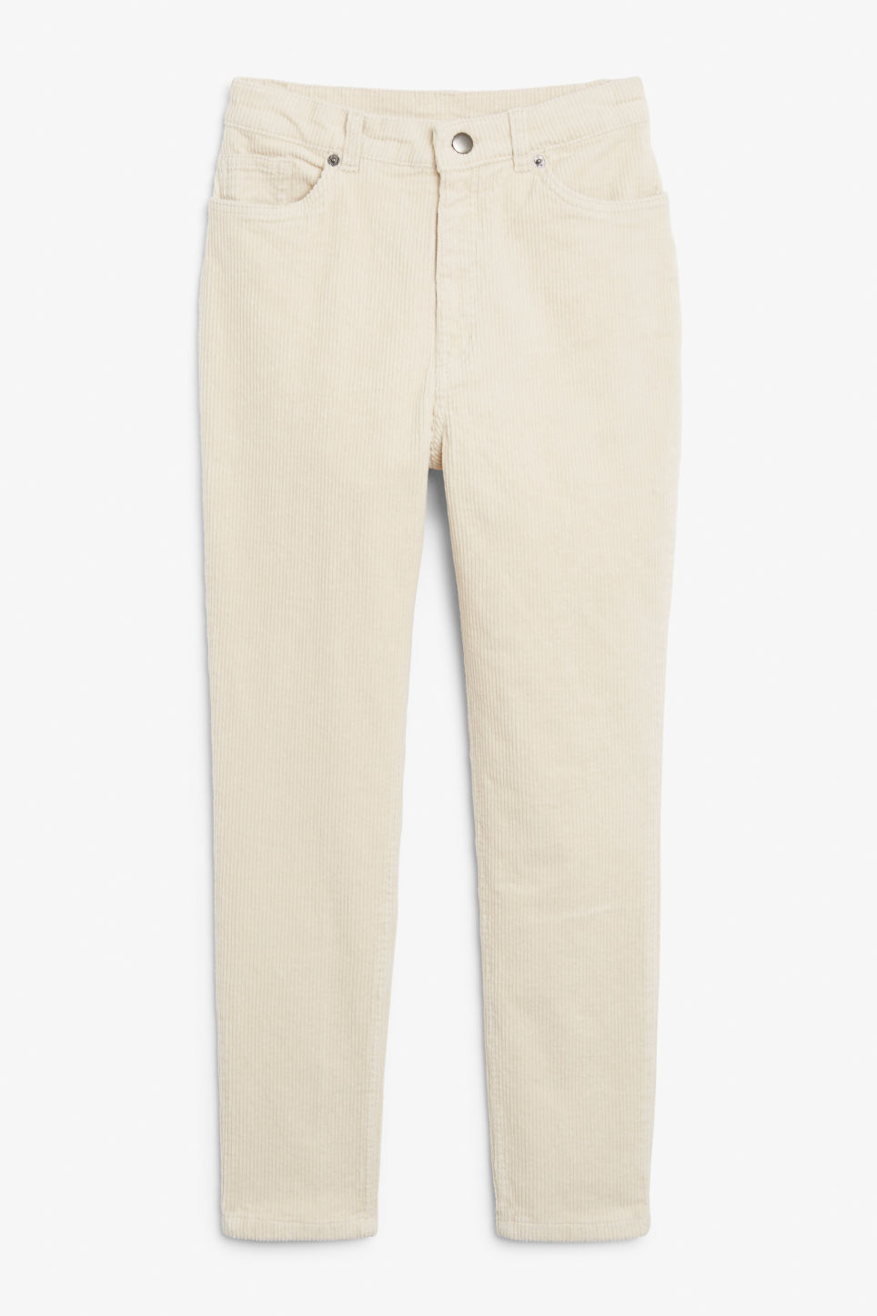 Front image of Monki slim fit corduroy trousers in beige