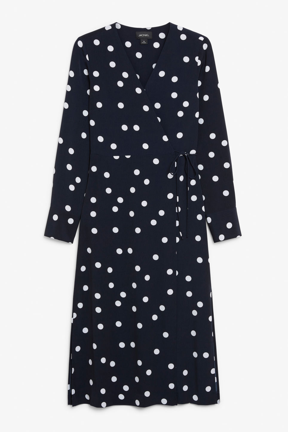 Front image of Monki long wrap dress in blue