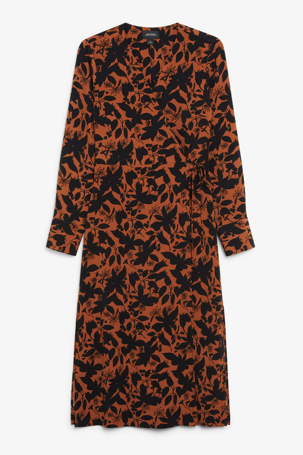 Front image of Monki long wrap dress in orange