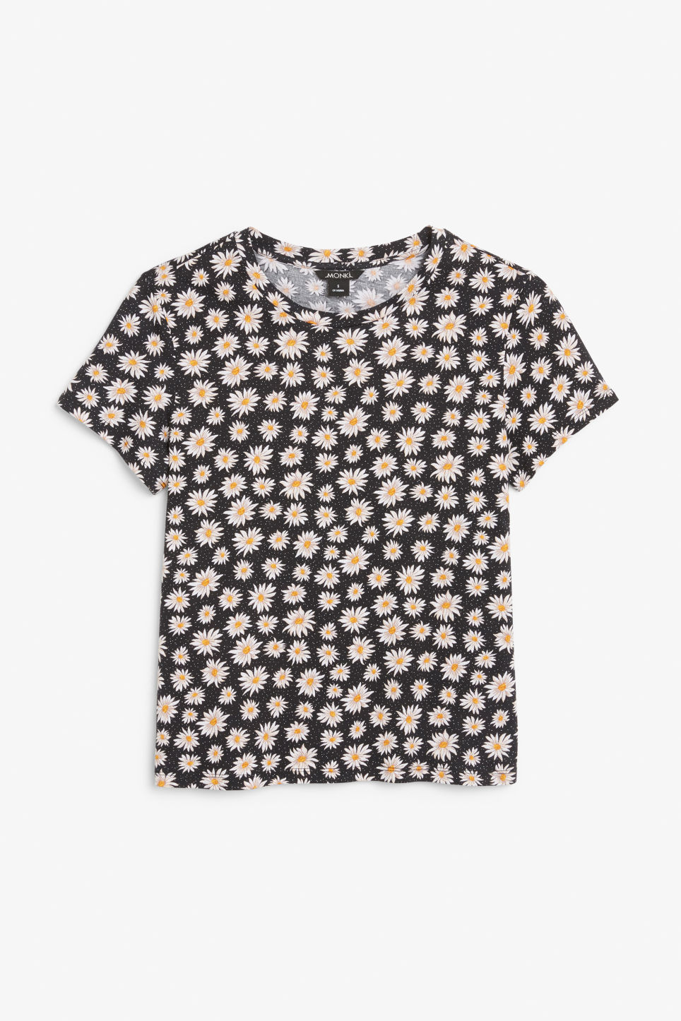 Front image of Monki cotton tee in black