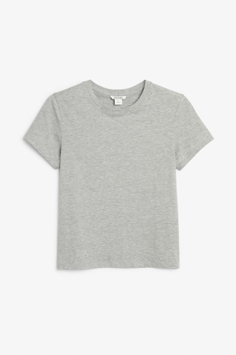 Front image of Monki cotton tee in grey