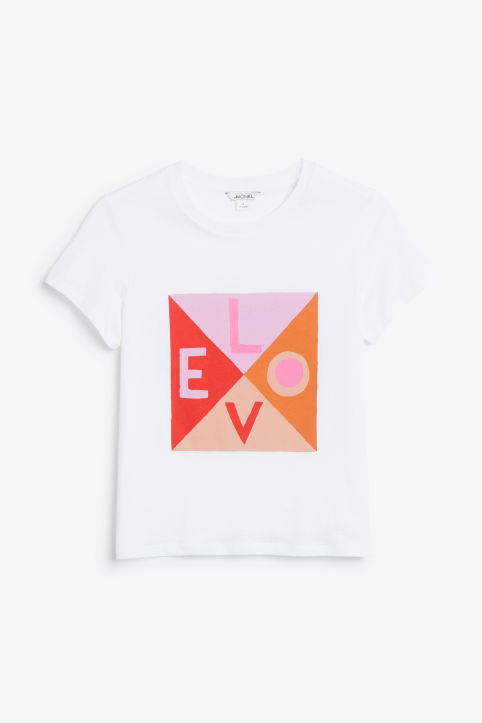 Front image of Monki cotton tee in white