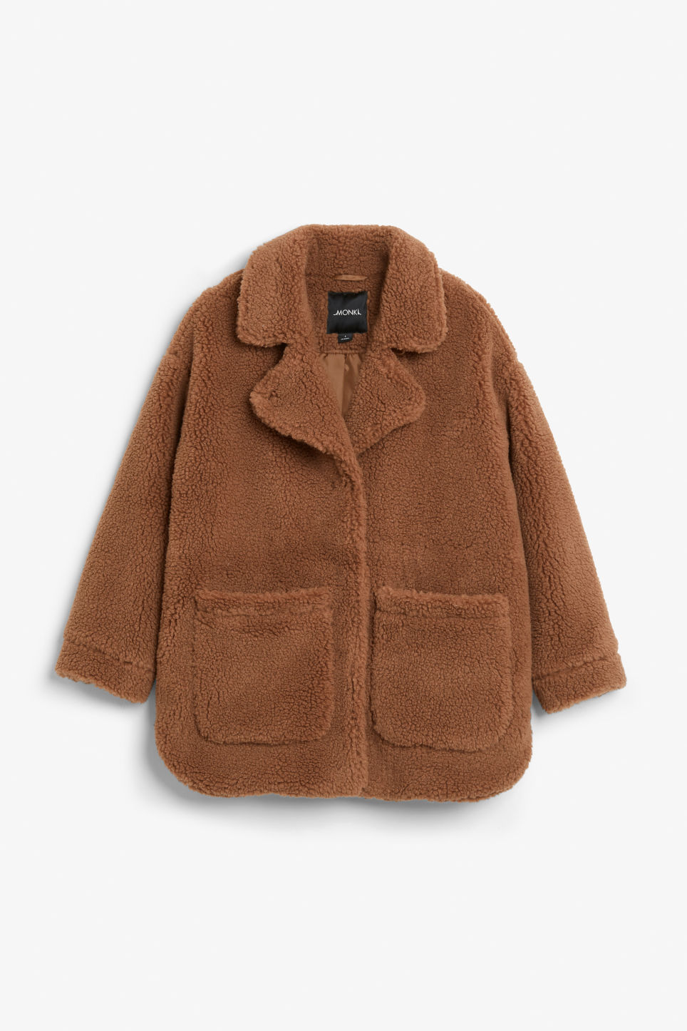 Front image of Monki oversized faux shearling coat in beige