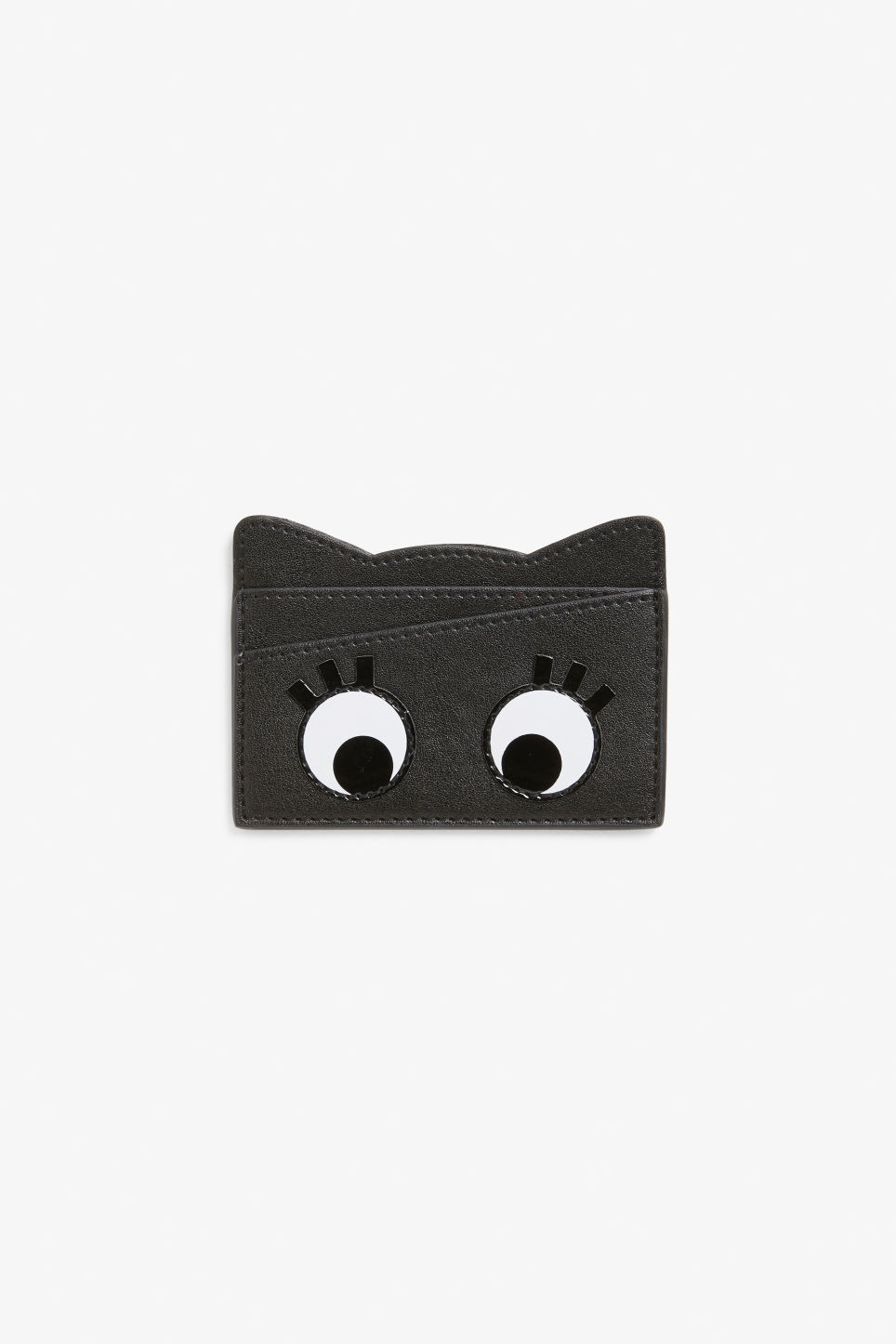 Front image of Monki real fun faux leather cardholder  in black