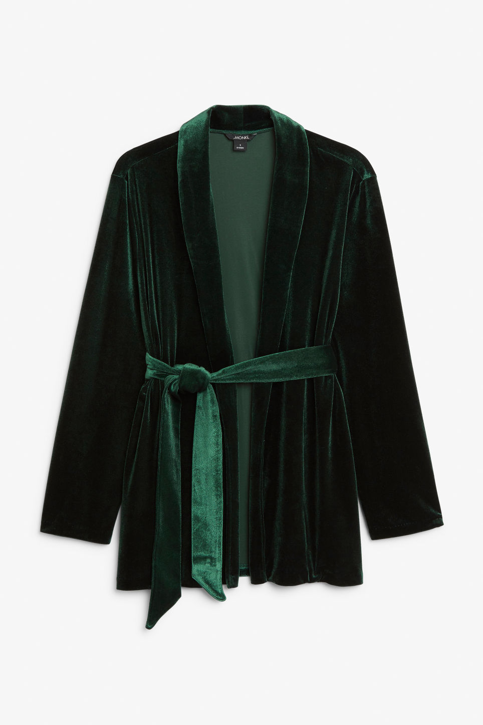 Front image of Monki velvet wrap blazer in green