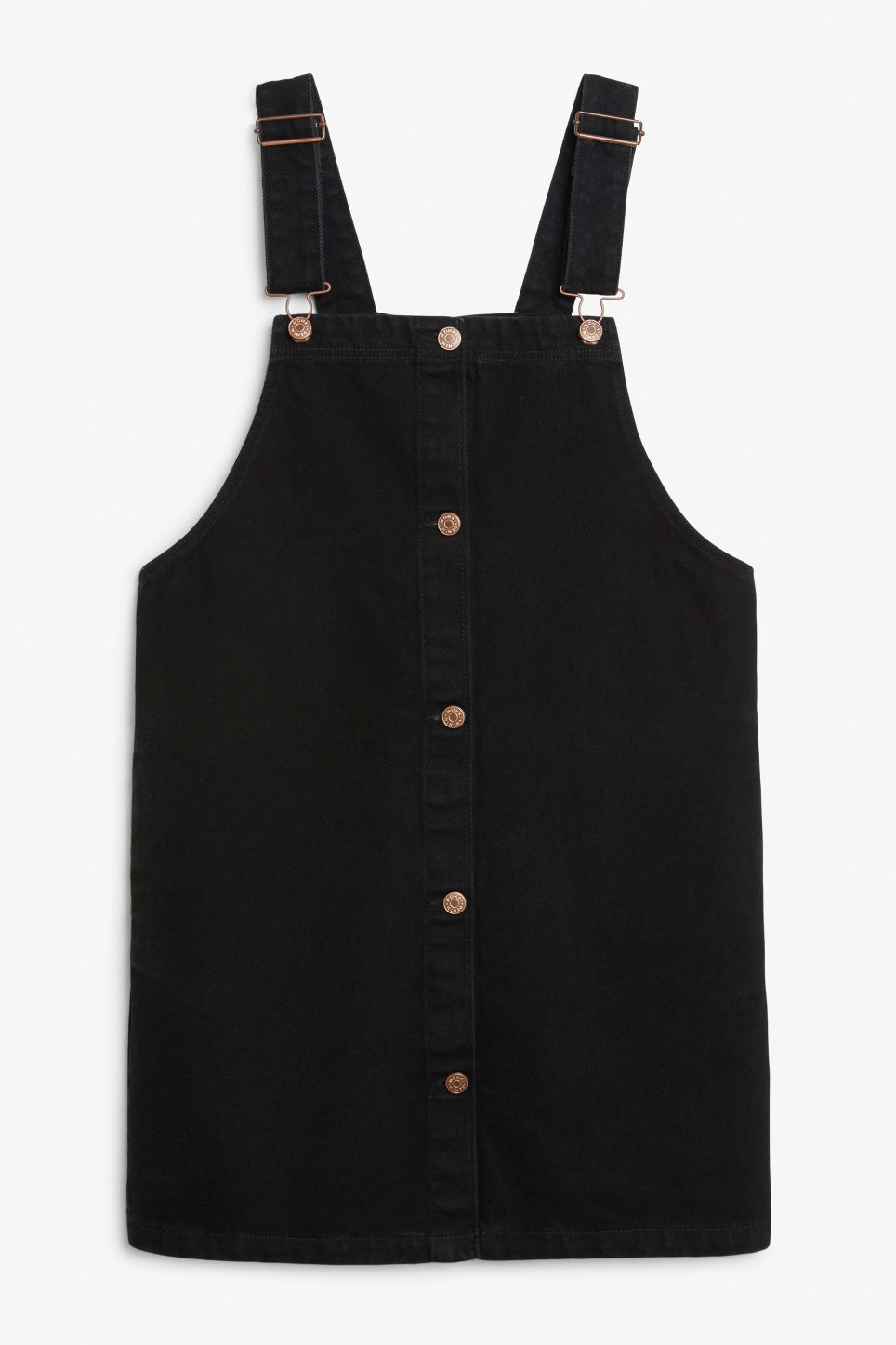 Front image of Monki denim dungaree dress in black