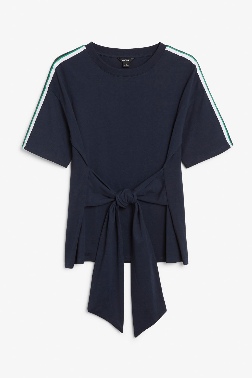 Front image of Monki oversized front tie tee in blue