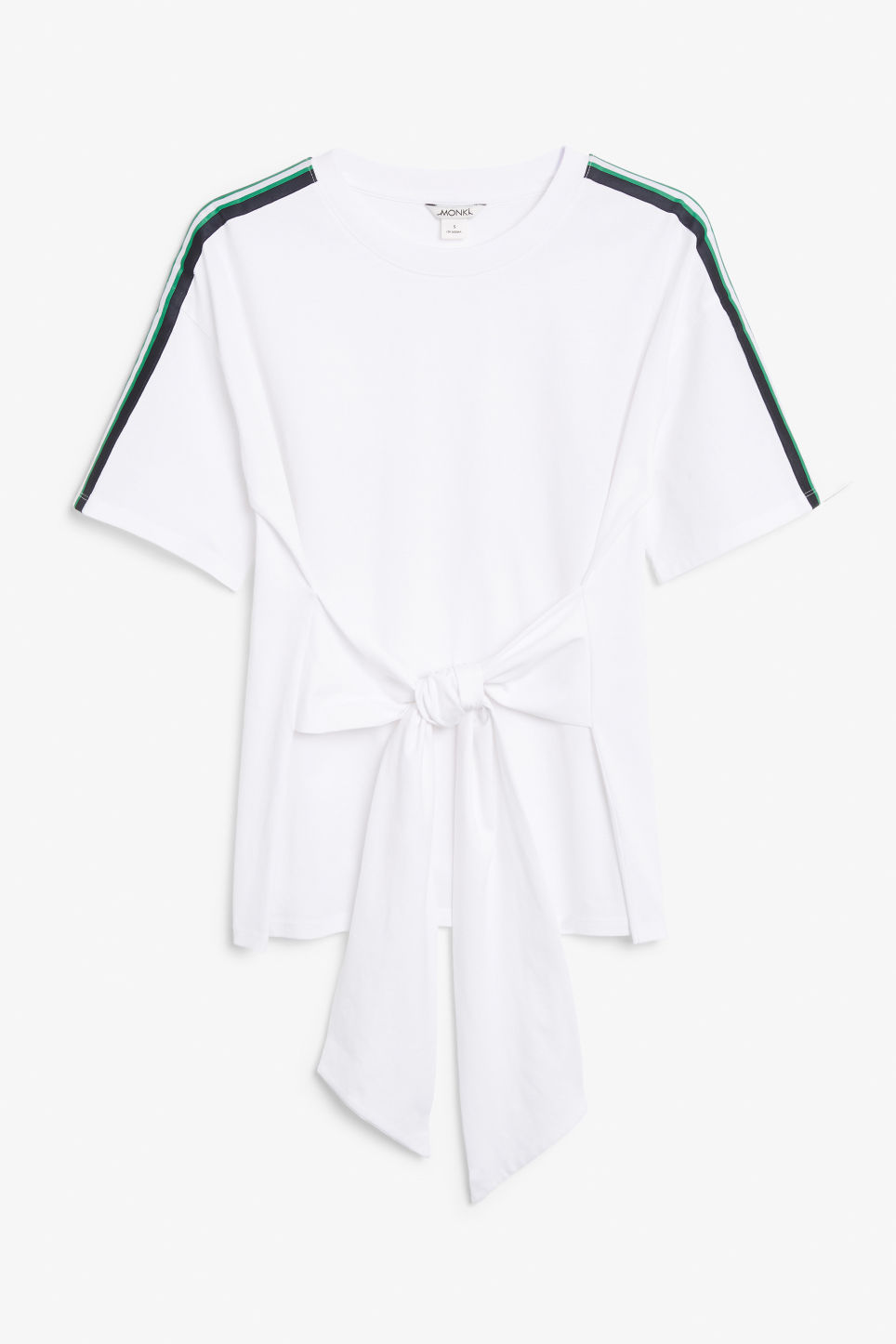Front image of Monki oversized front tie tee in white