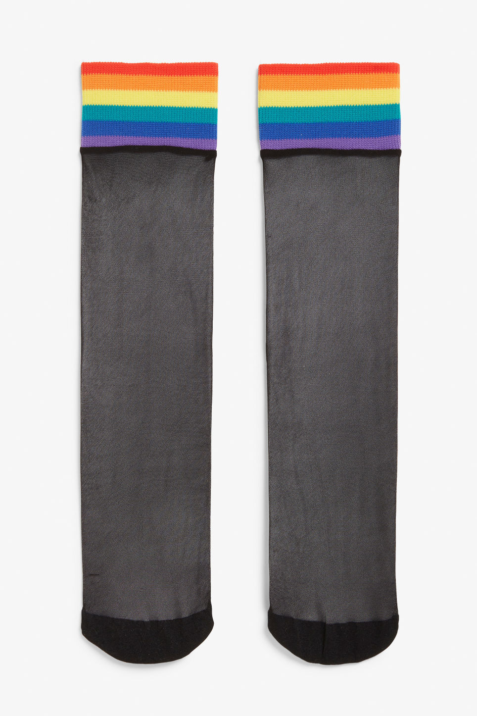 Front image of Monki sheer and rainbow socks in black