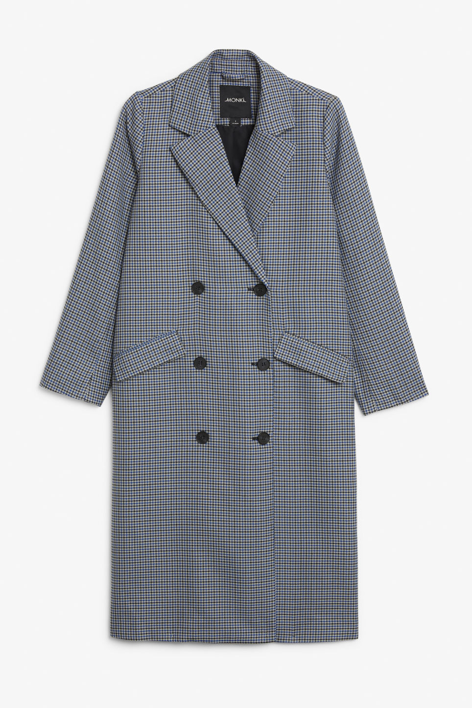 Front image of Monki longline coat  in blue