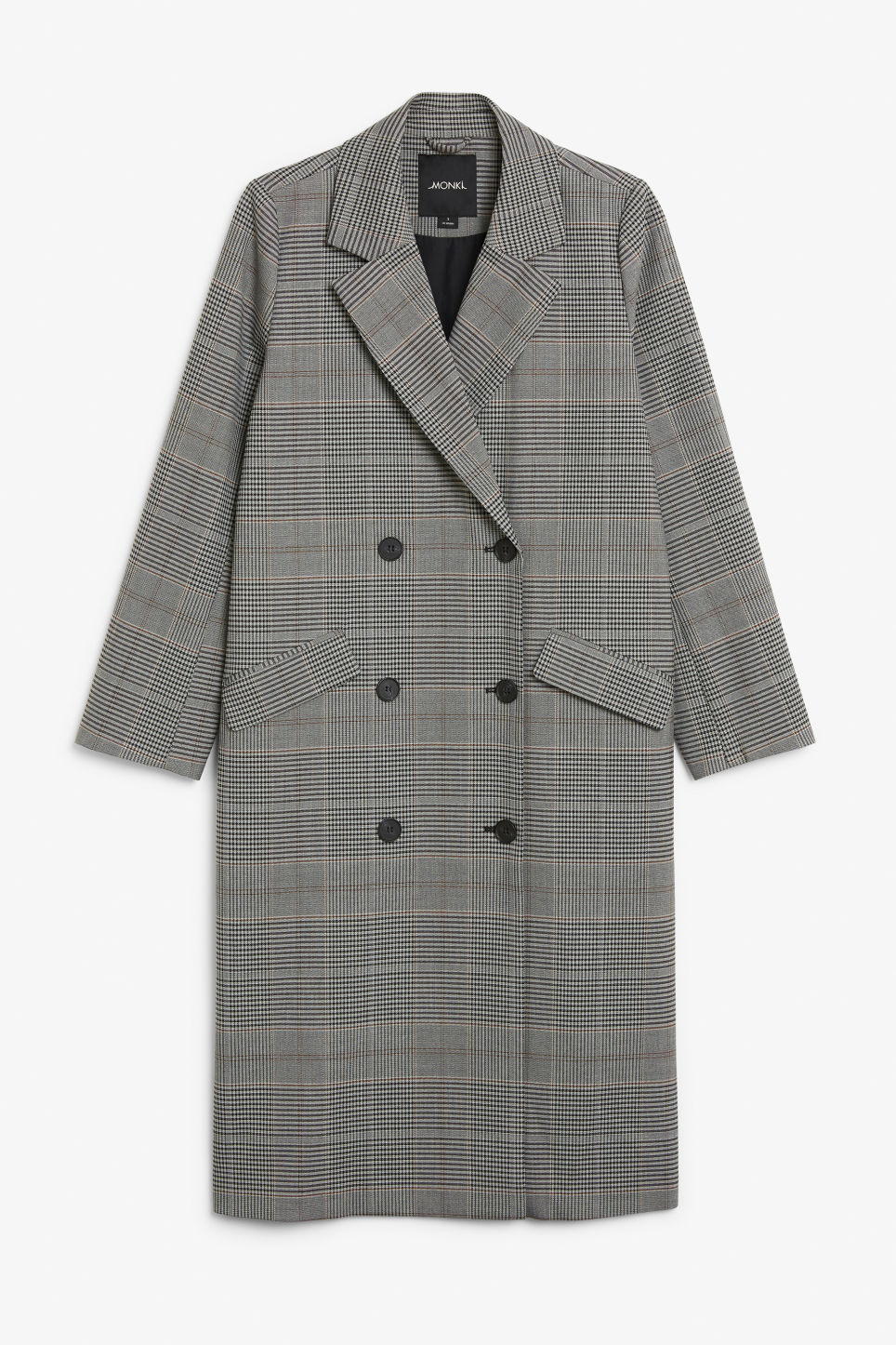 Front image of Monki longline coat  in grey