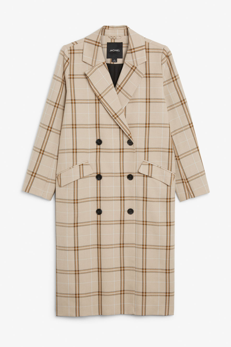Front image of Monki double-breasted longline coat in beige