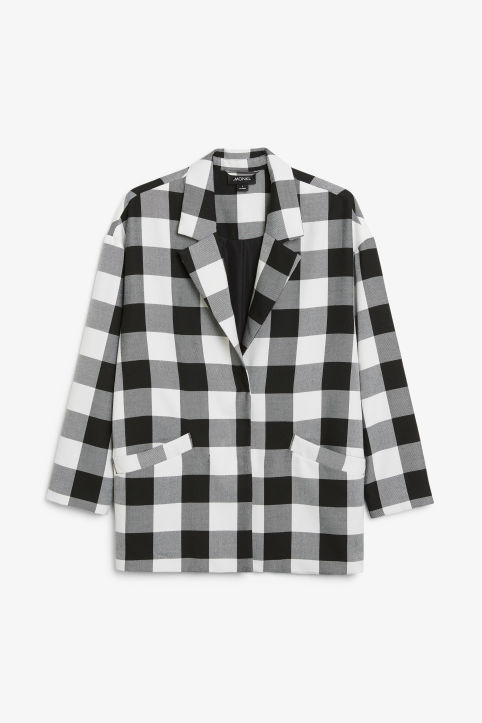 Front image of Monki long checkered blazer in black