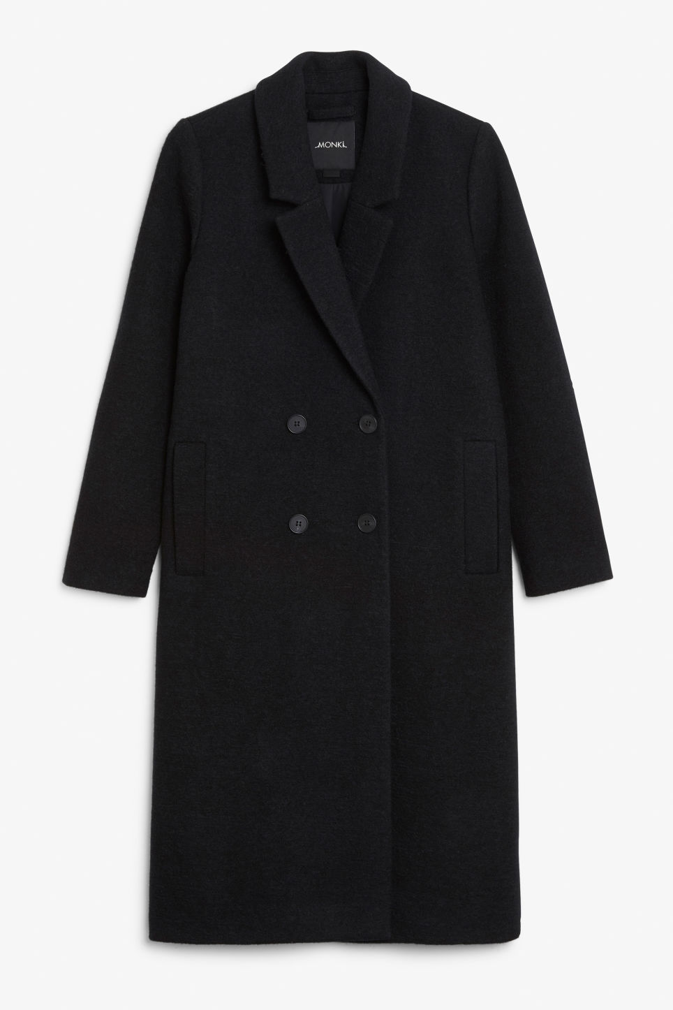 Front image of Monki classic coat in black