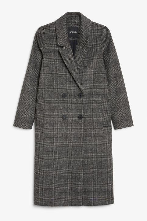 Front image of Monki classic coat in grey