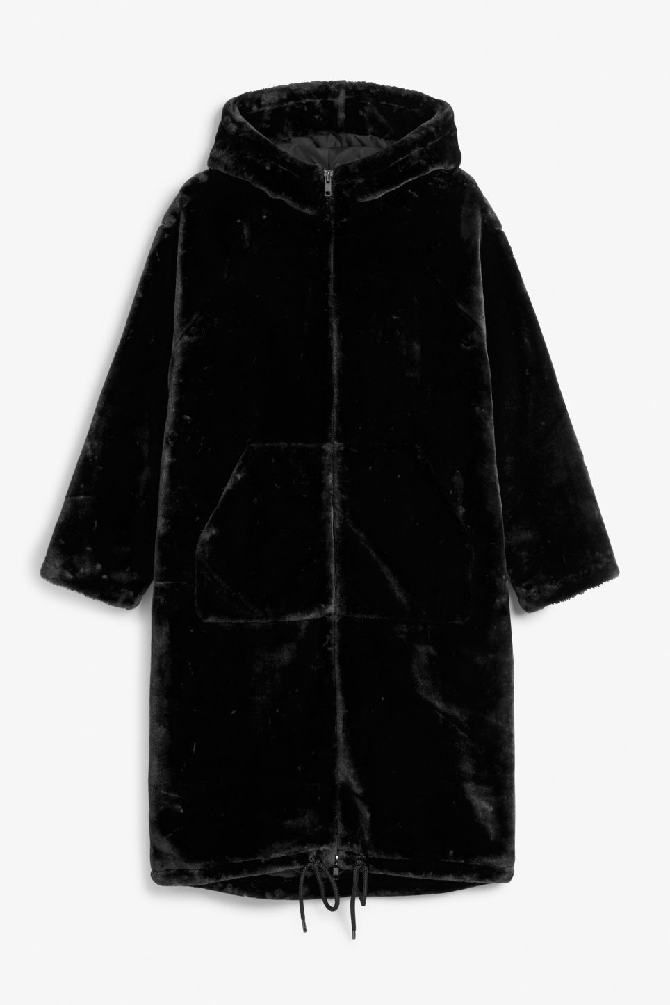 Front image of Monki long faux fur coat in black